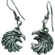 Lady's stainless drop wire and base metal eagle earrings