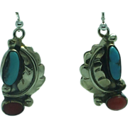 Lady' turquoise and coral sterling drop earrings