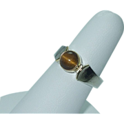 Lady's sterling and yellow gold filled tiger's eye ring
