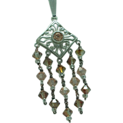 Lady's sterling Crystal pendant and chain
