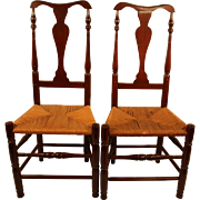 Pair of 18th Century New England Queen Anne Side Chairs