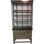 Industrial 2 pc Step back Kitchen/Free Space Hutch W Stone Type Top & 9 drawers