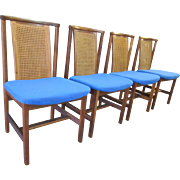 Set of 4 Mid Century Danish Modern Teak Cane Back Wenger Style Dining Chairs