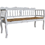 PAINTED COUNTRY FRENCH TRIPLE RUSH SEAT BENCH--NICE!!