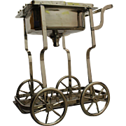 Mid Century Modern Style Chrome Wine/Ice/ Bar Rolling Cart/Caddie W Sink