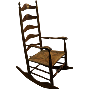 SOLD Antique 1800's Ladder Back Rush Seat Rocking Chair