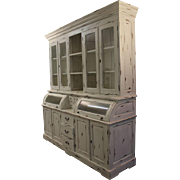 Large Country French Painted White-Washed Bread Cupboard/Hutch #1