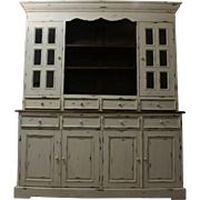 Large Country French Painted White-Washed Bread Cupboard/Hutch #2
