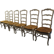Set of 6 Country French Rush Seat Ladderback Dining Chairs