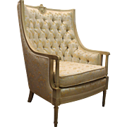 Louis XV French Bergere Tufted Back Chair