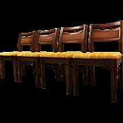 Set of 4 Mid Century Danish Modern Walnut Side Chairs
