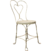 Vintage Ice Cream Heart-Back Wire Side Chair