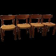 Set of 4 Mid Century Danish Modern Teak Rope Dining Chairs
