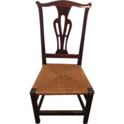 Antique Chippendale rush seat side chair