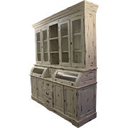 Large Painted Country French White Washed Hutch/Bread Cupboard