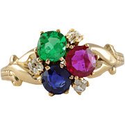 Antique Victorian emerald, ruby, sapphire , diamonds 14 karat gold ring. Circa 1880