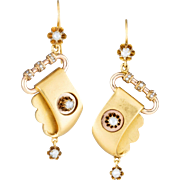 Antique 14 karat gold and split pearls earrings, circa 1870. Dangling Drop.