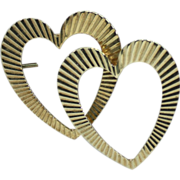 Vintage set of 14kt gold heart earrings by Krementz, and matching heart pin.