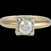 Vintage .54 carat Old Mine Diamond, 14 karat gold Engagement ring. Circa 1930