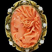 Antique Art Nouveau coral cameo 14 karat gold pendant brooch with natural pearls. Circa 1900 .