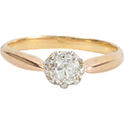 Antique diamond engagement ring. 0.46 ct. 18 kt gold, Platinum. Edwardian. Circa 1900.