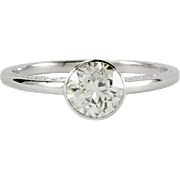 Antique Edwardian 1.00 carat old European cut diamond platinum engagement ring. GIA. Circa 190