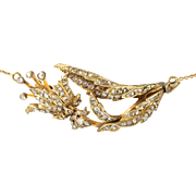 Antique Georgian 3 cts rose cut diamonds, silver, and 14 kt gold necklace. Circa 1800.