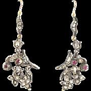 Antique Georgian 2.5 cts rose cut diamonds,rubies,silver,14 kt gold earrings. Dangling ...