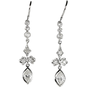 1.00 carat diamonds platinum Dangling earrings. Designed by David J. Thomas