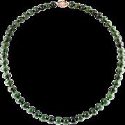 Vintage natural color nephrite jade necklace. Gump's. GIA. 14 karat gold clasp.