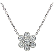 Diamonds 900 platinum pendant with 950 Platinum chain