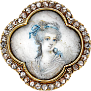 Antique rose cut diamonds,18 karat gold pin/pendant with hand painted portrait. 19th Century .