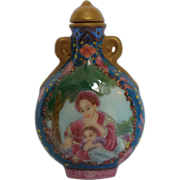 Painted enamel porcelain snuff bottle of a western lady in the style of Lang Shining ...
