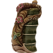 Molded Porcelain Snuff Bottle of a Tree Root and Bamboo Trunk