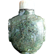 Pretty Moss Agate Bottle with Jade Cap
