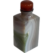 Banded Agate Snuff Bottle in a Tall Square Form