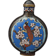 VIntage Hand Painted Cloisonne Snuff Bottle with four character mark of Qianlong