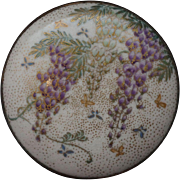 Painted Satsuma Belt Buckle with Wisteria and Butterflies