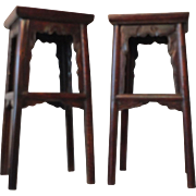 Vintage Chinese High Mahogany Lacquer Square Stools