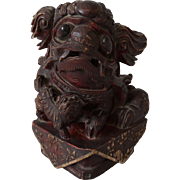 An Old Wooden Architectural Artifact in the form of a Playful Foo Dog