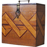 Vintage Wooden Box with Interesting Marquetry