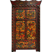 Vintage Painted Tibetan Cabinet with Colorful Snow Lions