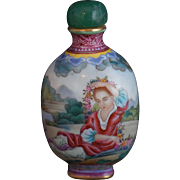 Painted Porcelain Snuff Bottle in the Style of Giuseppi Castiglione with Four Character Mark o