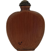 Vintage Bamboo Snuff Bottle in Flattened Form