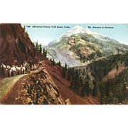 Late 1800's Post Card Silverton-Ouray Colorado Toll Road, Rich Color, Horse Drawn Wagons