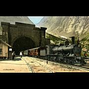SWITZERLAND Vintage GOTTHARDBAHN Tunnel and Steam Engine Postcard, 1912. VG Condition, minor .
