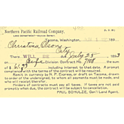 1893 NORTHERN PACIFIC RR Co. Notice of Land Deed Payment due.  Used, Sent as Post ...