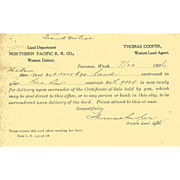 1896 NORTHERN PACIFIC RR Co. Notice of Land Deed.  Sent as Post Card  Postmarked Tacoma, WA
