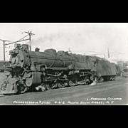 PENN RR  Railroad Locomotive #3750 RR Yard Pacific South Amboy, NJ,  RPPC Unposted Excellent .