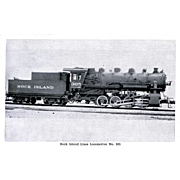 ROCK ISLAND RR Steam Engine Locomotive(oil-burning) #305, Brand-New in PHOTO 1925.  Unposted .